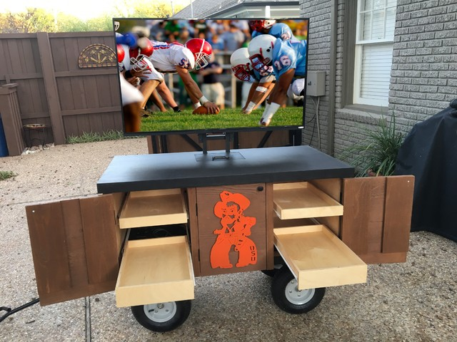 Rolling Rustic TV Media Cart Traditional Patio