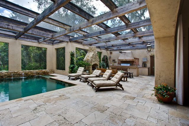 Roman blend travertine pavers mediterranean patio for Pool design tampa