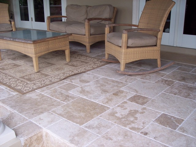Roman Blend Travertine Tiles Traditional Patio Tampa By