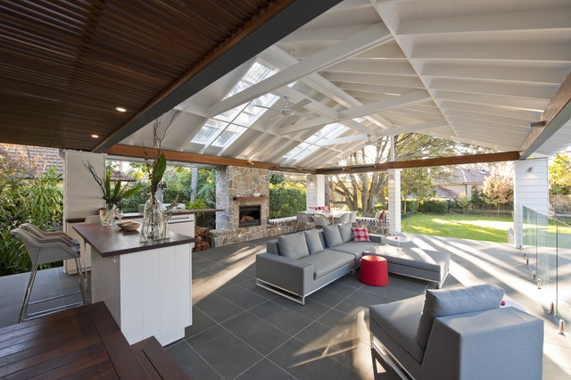 Inspiration For A Large Contemporary Backyard Patio Remodel In Sydney With  A Fire Pit