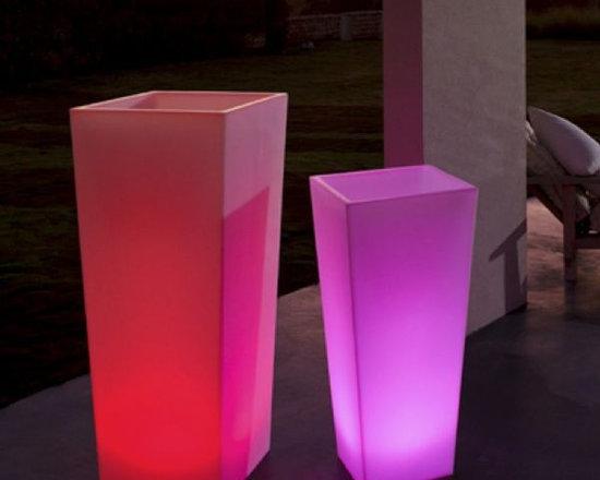 Rumba Illuminated Outdoor Planter. - Rumba illuminated outdoor planter is also rechargeable.