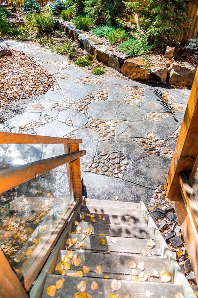 Rundle Stone & River Rock Patio with Rock Retaining Wall ... on Rock And Stone Outdoor Living id=67560