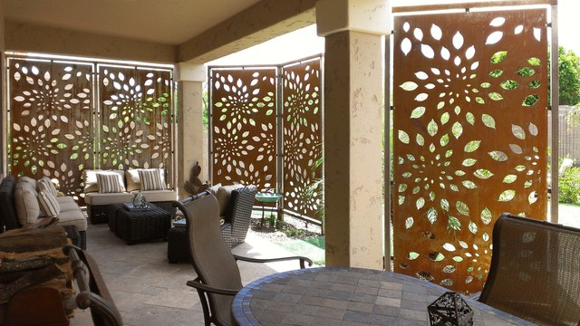 Rusted steel privacy screen contemporary patio for Patio deck privacy screen