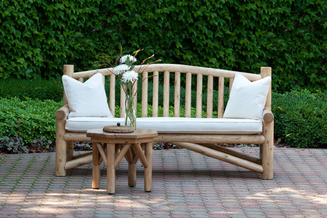 Rustic Bench #1544 And Rustic Side Table #3272 By La Lune Collection Rustic