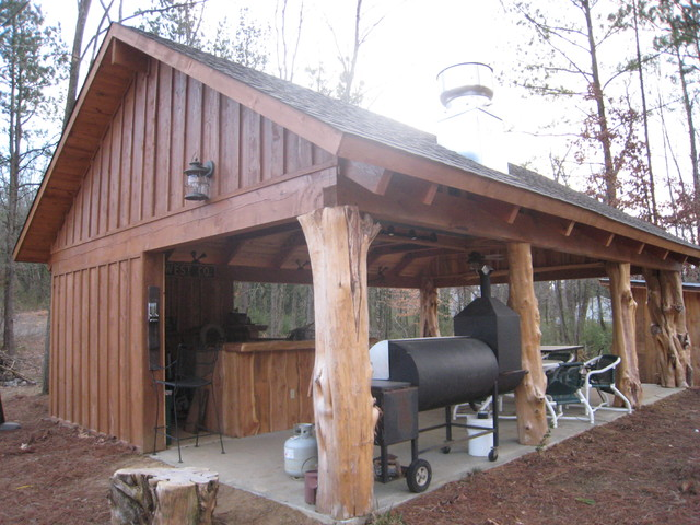 Rustic Cedar Log Pavilion Traditional Patio