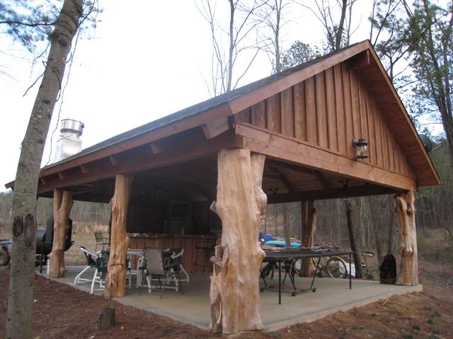 Rustic Cedar Log Pavilion Traditional Patio