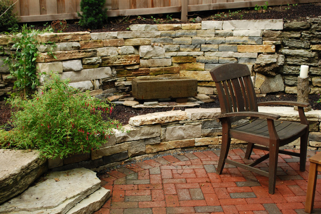 Rustic Hillside Courtyard Traditional Patio