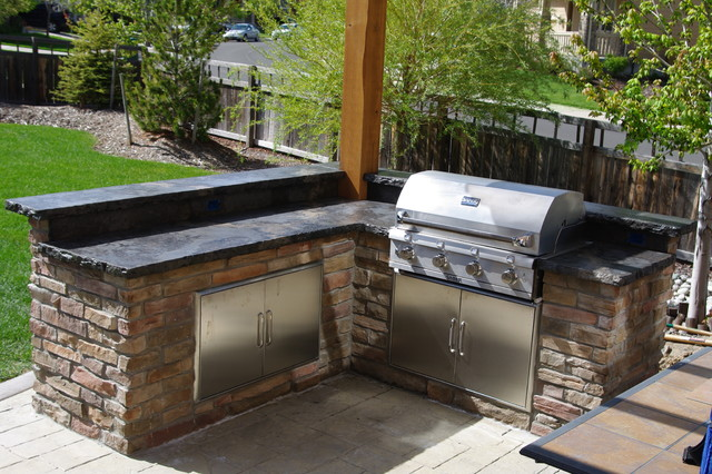 Rustic Outdoor Concrete Countertop Kitchen Rustic Patio Denver on Home Bar Counters For Sale