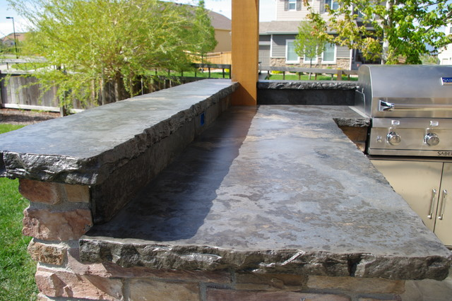 Rustic Outdoor Concrete Countertop Kitchen Rustic Patio Denver & Rustic Outdoor Concrete Countertop Kitchen