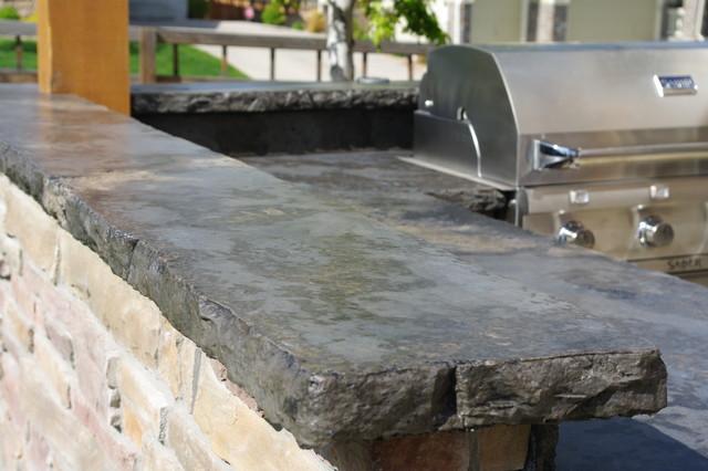 Rustic Outdoor Concrete Countertop Kitchen Rustic Patio