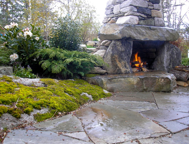 Rustic Outdoor Fireplace traditional patio