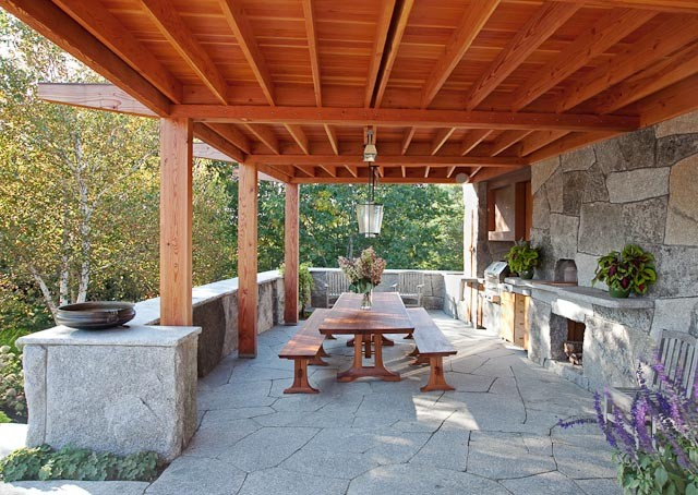 Rustic outdoor kitchen camden maine contemporary for Outdoor kitchen and dining