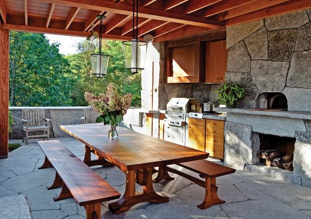 Rustic outdoor kitchen in camden maine contemporary Rustic outdoor kitchen designs