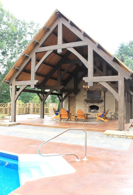 Pool Pavilion With A Fireplace Traditional