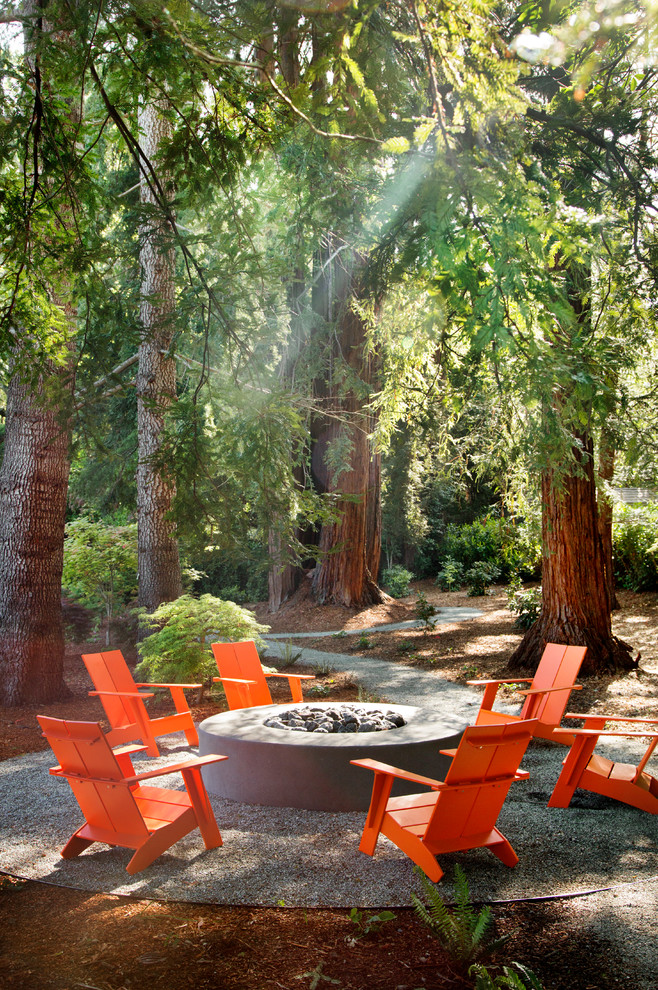 Patio - rustic patio idea in San Francisco with a fire pit