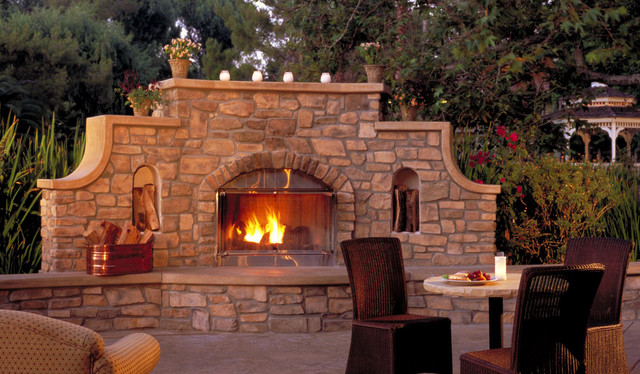 Rustic stone outdoor fireplace for Eldorado outdoor fireplace