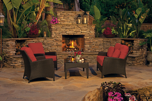 Rustic Stone Outdoor Fireplace Mediterranean Patio