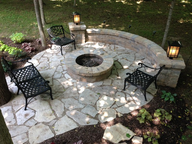 Exceptional Salt Lake Flagstone Patio With Fire Pit U0026 Sitting Wall Traditional Patio