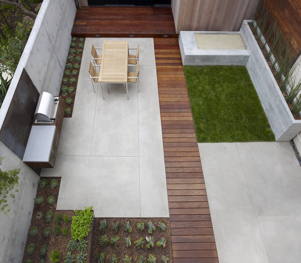 Trendy concrete patio photo in San Francisco with no cover