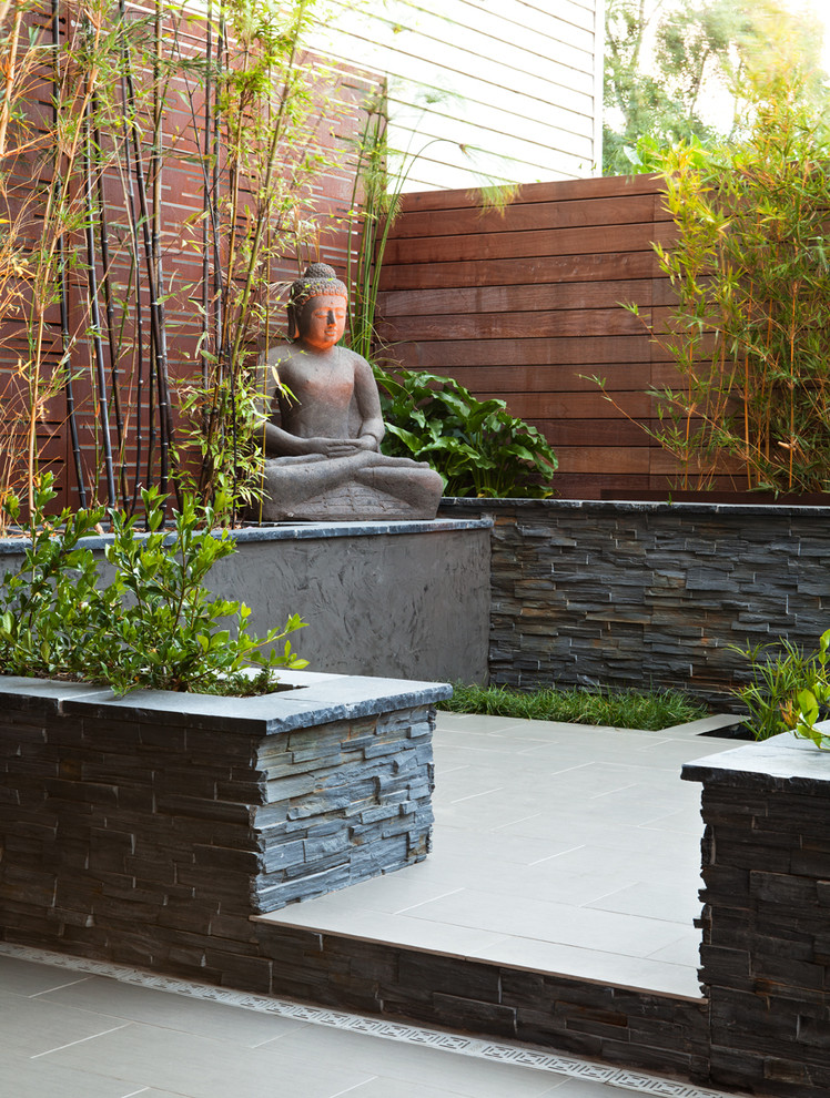 Inspiration for a large backyard patio fountain remodel in San Francisco