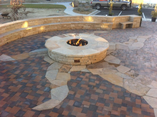 sandstone fire pit and bench Southwestern Patio Albuquerque by Canyon