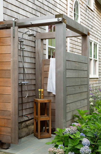 Sandy House- Outdoor Shower - Beach Style - Patio - Boston ... on beach house design, dining room house design, outdoor bath house design, bedroom house design, porch house design, laundry house design, gym house design, toilet house design, balcony house design, bathroom house design, outdoor dog house design, pool house design, construction house design, nice furniture house design, storage shed house design, outdoor bathroom, patio house design, outdoor kitchen designs,