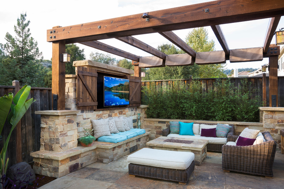 Inspiration for a timeless backyard tile patio remodel in San Francisco with a gazebo