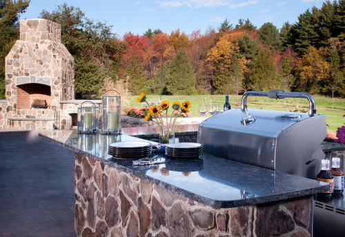 Sapphire Blue Granite Outdoor Counters modern patio