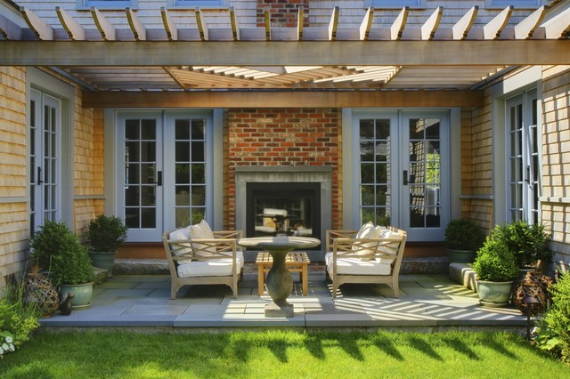 Attrayant Transitional Patio Photo In Boston With A Fire Pit And A Pergola