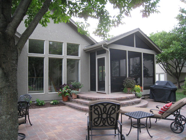 Screened Porch And Paver Patio In Overland Park Ks Traditional Patio Other Metro By
