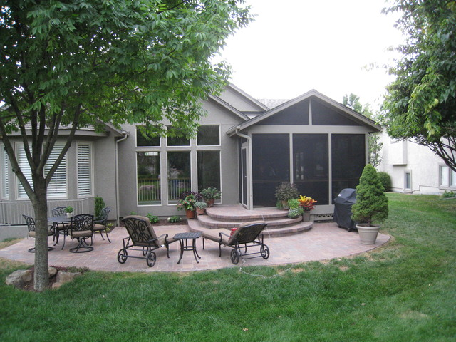 screened porch and paver patio in overland park ks traditional patio