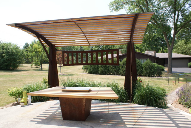 sculptural pergola contemporary patio milwaukee by new house arts. Black Bedroom Furniture Sets. Home Design Ideas