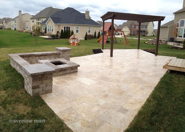 Walnut Travertine Pavers - Traditional - Patio ... on Travertine Patio Ideas id=84648