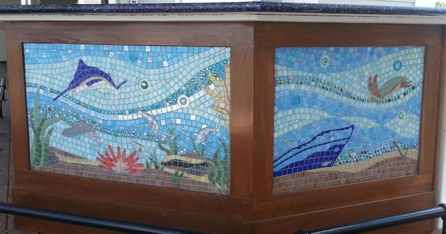 Seascape Glass Mosaic Mural Bar Front Insert Tropical