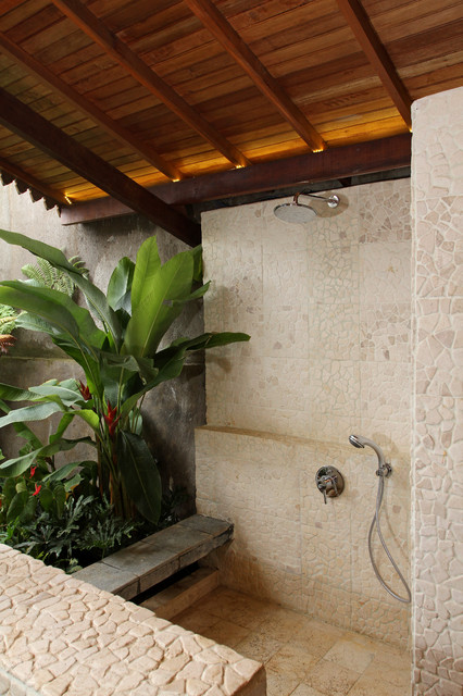 Semi outdoor shower room tropical patio by iwan for Indoor outdoor bathroom design ideas