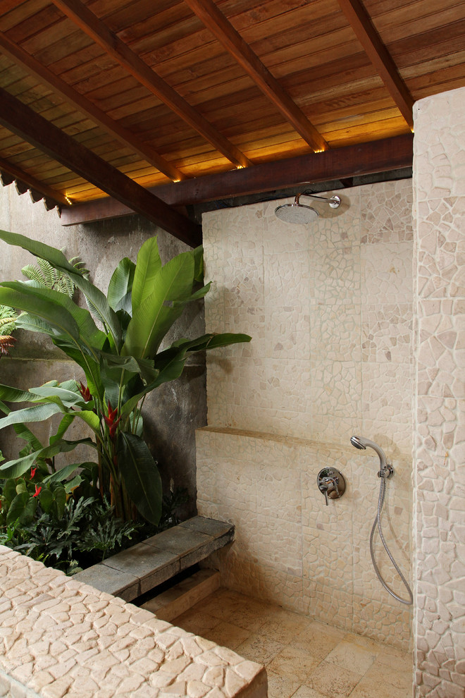 Inspiration for a tropical outdoor patio shower remodel