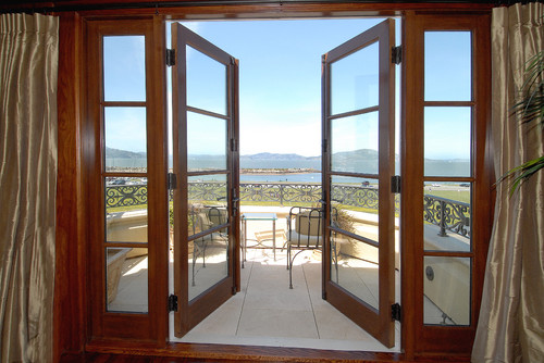 french doors also make a lovely modern addition to any home when done right these double stained shaker doors below are extra wide and certainly give - Patio Doors French