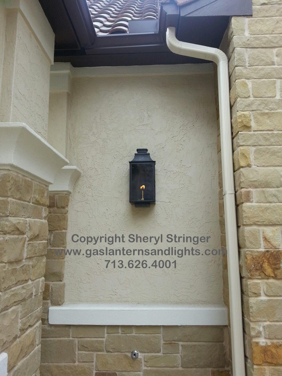 Sheryl's Flush Mount Gas Lantern with Dark Patina Finish
