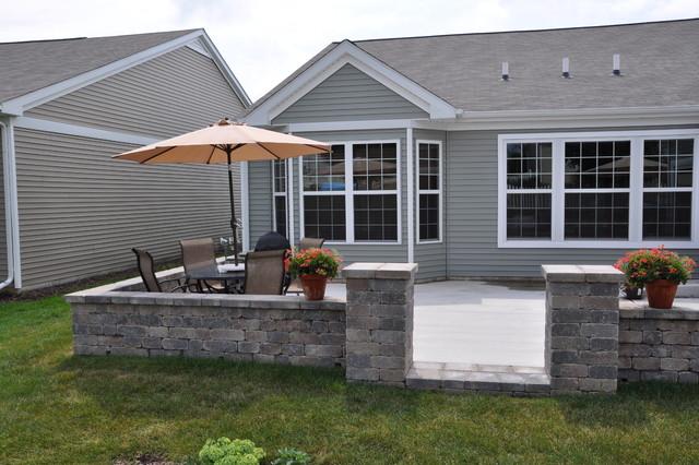 Patio Walls Around Patio Slab : Shorewood seat wall pillars around concrete patio