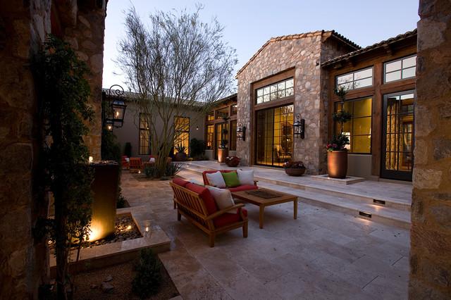 Silverleaf ranch hacienda courtyard transitional patio for Hacienda ranch style homes