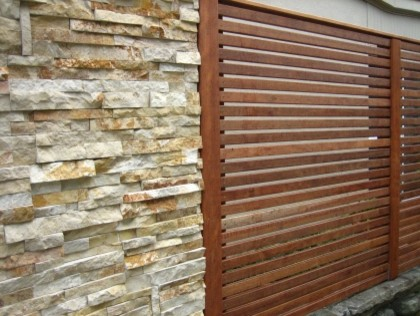 Slat Style Fence By Spring Meadows Contemporary Patio