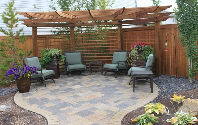 Slat style fence by Spring Meadows Patio Calgary by