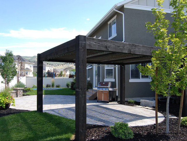 SLC Backyard Timber Frame Pergola Contemporary Patio   SLC Backyard Timber  Frame Pergola   Contemporary