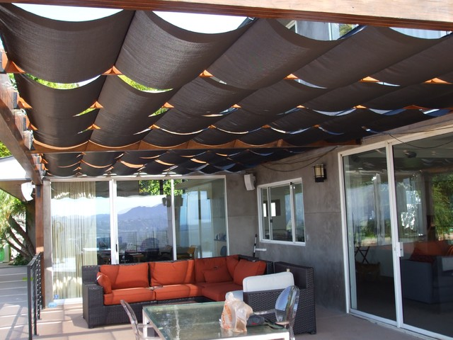 Slidewire Outdoor Roman Shades Modern Patio Los Angeles by