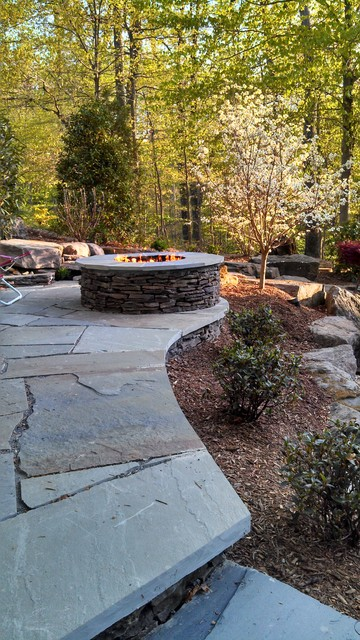 Raised Patio With Steps: Raised Patio, Fire Pit, & Water Feature