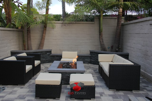 Small Backyard Patio Fire Pit Planters Walls Project VIEW 18