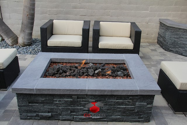 Small Backyard Patio Fire Pit Planters Walls Project View 7 .