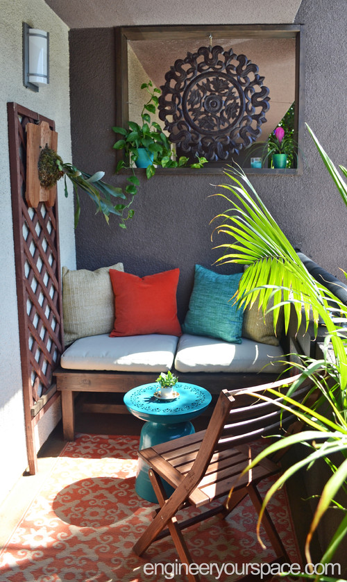 colorful bohemian balcony decor