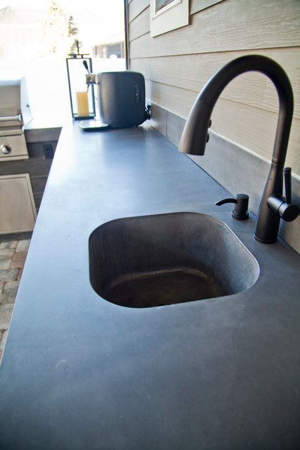 Smooth Finish Concrete Countertop w/ Integrated Sink