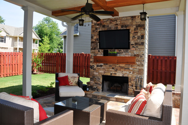 smyrna outdoor living room and fireplace traditional patio - Patio Living
